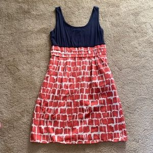 Boden Sleeveless Dress Navy & Printed Skirt